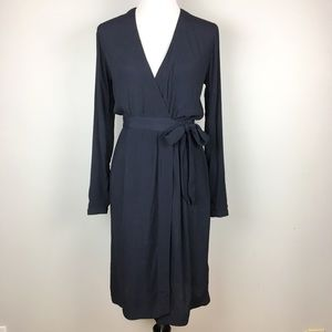 H&M Navy Blue Rayon Wrap Dress Size 2